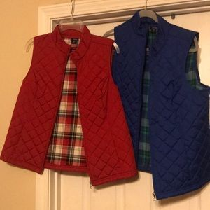 2 vests together- size small- red and royal blue